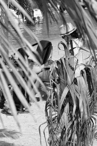 la umbra palmierului, bucurandu-ma, pe malul marii, de lectura