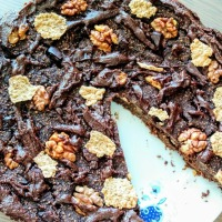 Reteta 3 in 1: tort/briose/chec din ovaz, fructe si ciocolata (desert vegan si fara zahar)